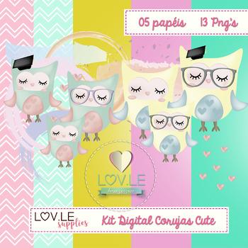 Cute Owls Digital Papers