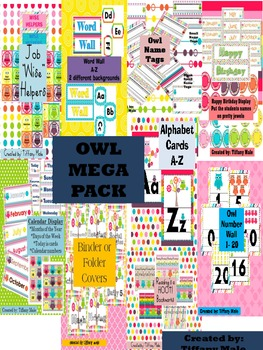 Cute Owls MEGA Classroom Pack