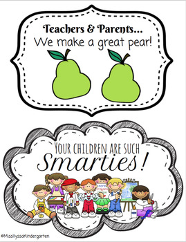 Cute Parent Teacher Conference Back to School Night Signs - Smarties and Pears