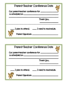 Cute Parent-Teacher Conference Forms