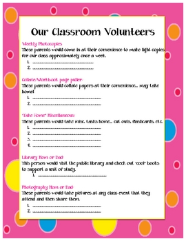 Cute Parent Volunteer Sign-Up Sheet by Jaclyn McCullough ...