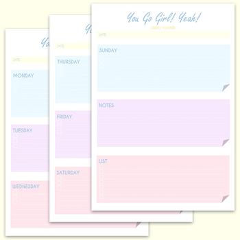 Cute Pastel Printable Planner