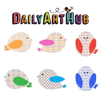 Cute Pattern Birds Clip Art - Great for Art Class Projects!