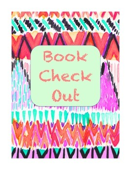 Cute Pattern Library Book Check Out Binder Cover