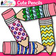 Cute Glitter Pencil Clip Art {Back to School Supplies for Worksheets, Resources}