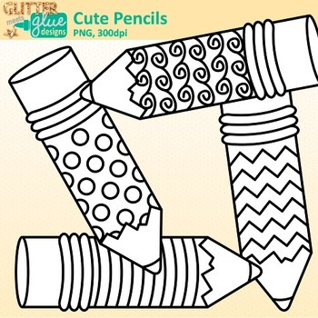 Cute Pencil Clip Art {Back to School Supplies for Worksheets & Resources} B&W