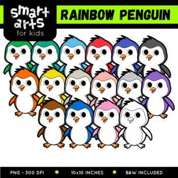 Rainbow Cute Penguin Clip Art