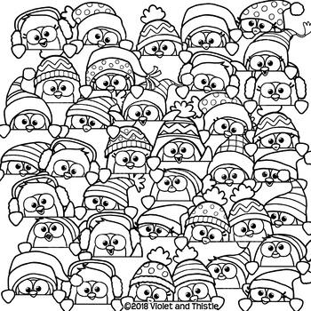 Penguin Clipart Penguin Page Topper Faces Peeking Clipart Clip Art