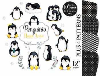Cute Penguin clip art, penguins clipart, digital illustration, penguin graphics
