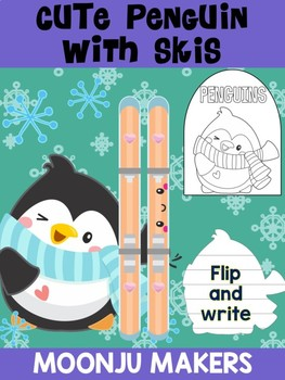 Cute Penguin with Skis- Moonju Makers Activity, Craft, Writing, Winter, Skiing