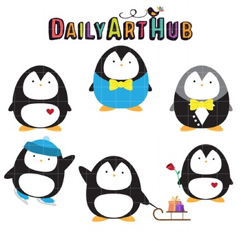 Cute Penguins Clip Art - Great for Art Class Projects!