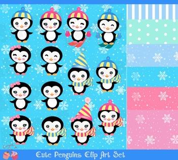 Cute Penguins Clipart Set
