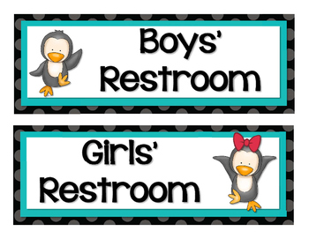 Cute Penguins and Polka Dots Classroom Decor Set