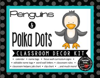 Cute Penguins and Polka Dots Classroom Decor Set