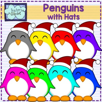 Cute Penguins with hats clipart