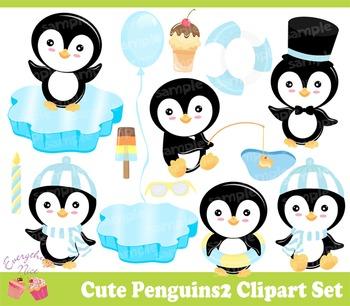 Cute Penguins 2 Clipart Set