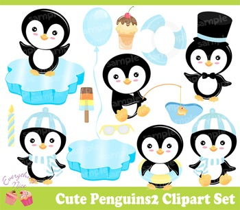 Cute Penguins 2 Clipart Set