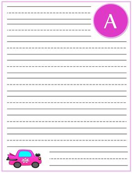 """Writing Lined Paper Personalized """"A"""" Girl"""