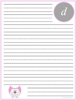 "Writing Lined Paper Personalized ""D"" Girl"