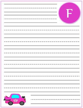 """Writing Lined Paper Personalized """"F"""" Girl"""