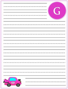 "Writing Lined Paper Personalized ""G"" Girl"