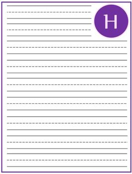 """Writing Lined Paper Personalized """"H"""" Girl"""