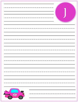 """Writing Lined Paper Personalized """"J"""" Girl"""