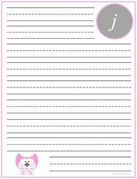 "Writing Lined Paper Personalized ""J"" Girl"