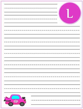 "Writing Lined Paper Personalized ""L"" Girl"