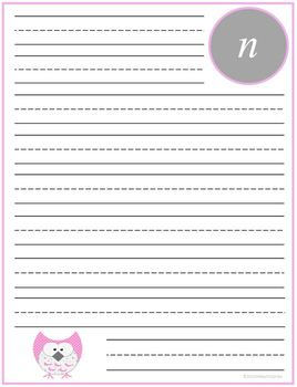 "Writing Lined Paper Personalized ""N"" Girl"