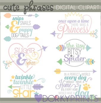 Cute Phrases and Arrows Clip Art