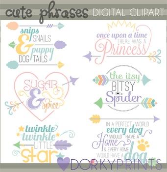 Cute Phrases and Arrows Clip Art