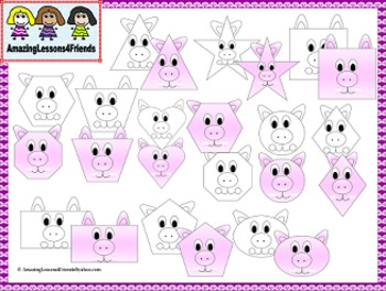Cute Pig Shape Clipart