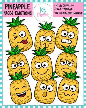 Cute Pineapple Face Emotions-18 Color and black and white images!