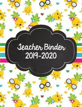 Cute Pineapple and Brights Teacher Binder