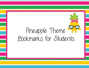 Cute Pineapple and Brights Theme Bookmarks.  Stand Tall!