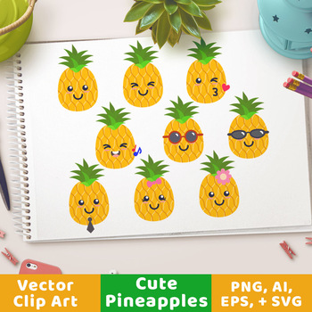 Cute Pineapples Clipart, Pineapple SVG, Pineapples with Sunglasses, Fruit