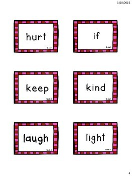 Cute Pink 3rd Grade Dolch Sight Word Flashcards