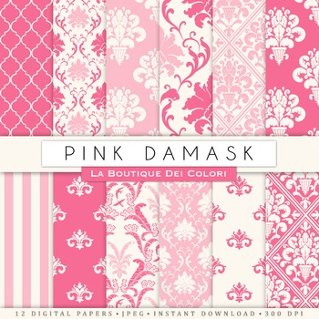 Cute Pink Damask Digital Paper, scrapbook backgrounds