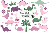 Cute Pink Dinosaurs Clipart