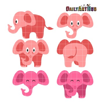 Cute Pink Elephants Clip Art - Great for Art Class Projects!