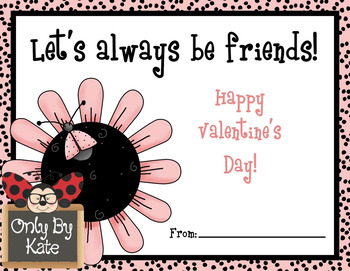 Cute Pink Ladybugs, Valentine's Day Cards, Print Your Own