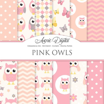 Cute Pink Owl Digital Paper Background patterns. baby girl owls and butterflies