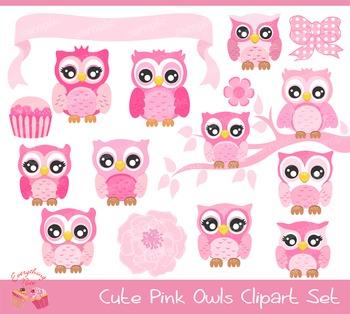 Cute Pink Owls Clipart