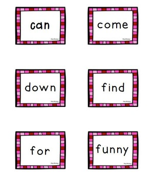 Cute Pink Pre-Primer Dolch Sight Word Flashcards