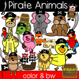 Cute Pirate Animal Clipart: Pirate Ship, Flag, Eye Patch, Treasure Chest!