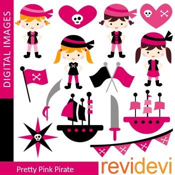Cute Pirate Clip art (girl, pink, black, ship, flags, skulls) clipart