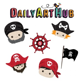 Cute Pirate Heads Clip Art - Great for Art Class Projects!