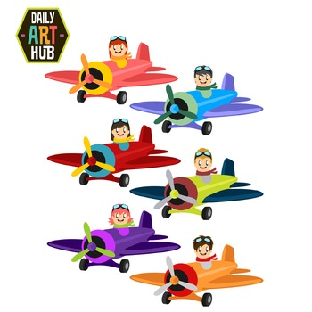 Cute Planes Clip Art - Great for Art Class Projects!