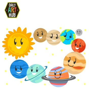 Cute Planets Clip Art - Great for Art Class Projects!